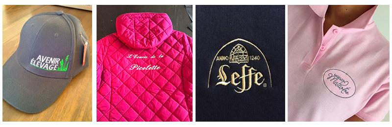 Exemples de broderie personnalisée sur vêtements